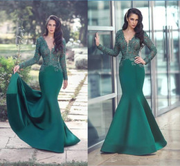 Wholesale white shirts long skirts runway resale online - Hunter Green Lace Evening Dresses Dubai Long Sleeves Mermaid Prom Gowns V Neck Satin Skirt Formal Mother Dress