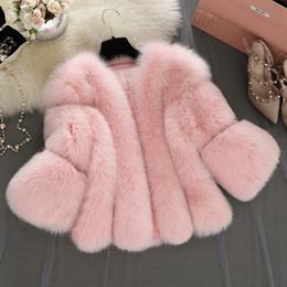 White Short Sleeve Faux Fur Australia - Haining Fur Coat Winter Fake Fox Fur Jacket Short Coats Pink Gray White Fashion Fur Jacket