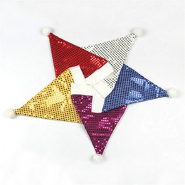 Blue Christmas Gifts Australia - 2 Pcs Christmas hat Sequin Christmas Hat Santa Glitter Hats Decorations Party Hats for Children New Year Gift 5ZHH141