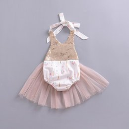 $enCountryForm.capitalKeyWord Australia - 2018 new fashion cute girl Infants Summer romper sequins flower mesh halter rompers newborns baby girls Clothes Dress