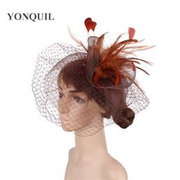 bdbe0b9c 2018 New Lady Cocktail Dinner Party Fedoras Feather Fascinators Hat Cap Wedding  Bridal Mesh Veil Hats Vintage Sombreros Chapeau SYF449