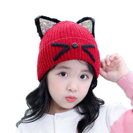 3704a18bcb5 Child Baby Hat Winter Boys Warm Beanies Hats Girls Bright Color Cat Ear Knit  Cap Skullies Bonnet Kids Fashion Accessories M6884
