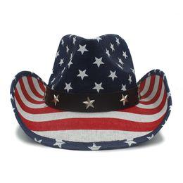 Men Straw Cowboy Hat For Dad Western Sombrero Hombre Cowboy Caps With USA  American Flag 85a36badf423