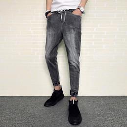 544e4f9a0a28e 2018 nouvelle taille automne petits pieds jeans slim neuf pantalon simple  mode sauvage bleu clair / noir taille 28-34