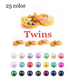 silver oyster shell Australia - 2018 DIY 6-8mm Red shell akoya oyster with Twins pearl Mixed 27colors Top quality Circle natural pearl in Vacuum Package For Gift Surprise