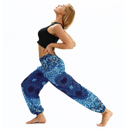 $enCountryForm.capitalKeyWord NZ - High quality Outdoor sports digital printing elastic waist yoga pants wide leg pants fabric comfortable breathable yoga