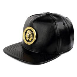 Quality PU Leather Men Women Hip-hop Hats Snapback Pharaoh King Logo  Fashion Trend Buckle Street Rap DJ Style Black Baseball Caps 2bd9c5cf8c5d