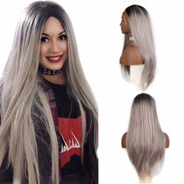 grey woman wig 2019 - Middle Part Glueless Black to Grey Synthetic Lace Front Wigs with Natural Hairline High Temperature Silky Straight Long