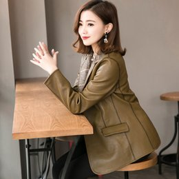 $enCountryForm.capitalKeyWord NZ - Leather leather women's short slim fit jacket in sheepskin stitching knitted suit on both sides