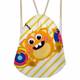 Drawstring Bags For Kids Canada - FORUDESIGNS Cute Drawstring Bag For Kids Boys Girls Monster Printing Backpack Children Travel Bags Storage Totes Female Package