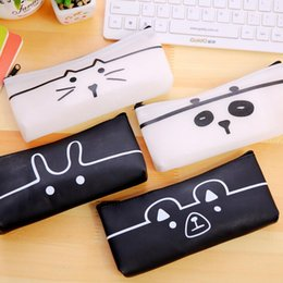 cute waterproof bag Australia - cute cartoons animal pencil bags semi-trasnparent waterproof pu pencil case storage organizer pen bags pouch school supply stationery