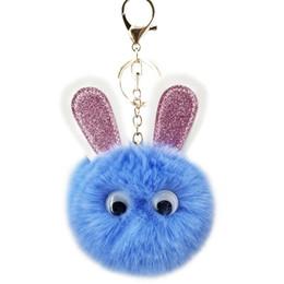 $enCountryForm.capitalKeyWord Australia - lovely Rabbit fur ball plush key chain round ball fluffy toy keychain hairy car key ring Bag Pendant car keychain christmas gifts new