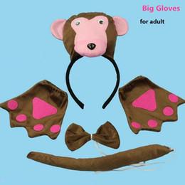 $enCountryForm.capitalKeyWord NZ - 3D Monkey Headband Bow Tie Tail Cosplay Animal 3pcs Set Kids Adults Halloween Performance Props Party Favors