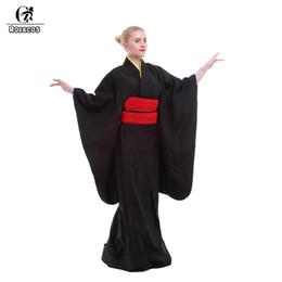 evening women costume 2019 - Rolecos Japanese Kimono Women Traditional Black Yukata Cosplay Costumes Obi Belt Evening Dresses cheap evening women cos
