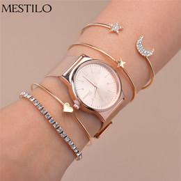 moon watch women 2019 - MESTILO Rose Gold Sliver Star Moon Open Cuff Bracelets Bangles Heart Rhinestone Bracelets For Women Wrist Watches Set ch