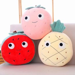 Wholesale candice guo Super cute plush toy lovely cartoon fruit pineapple strawberry watermelon soft cushion birthday Christmas gift pc