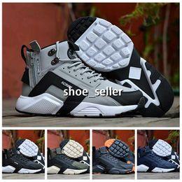 size 40 5fe32 c69d7 Nike huarache Air Max 2018 Air Huarache 6 X Acronyme Ville MID En Cuir Haut  Haut Huaraches Baskets De Course Chaussures De Course Hommes Huraches  Zapatos ...
