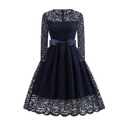 ada9bddadd Vintage Sexy Lace Dress Women Autumn Hollow Bowknot Belt Slim Pleated  Office Ladies Elegant Prom Evening Blue Swing Midi Dresses