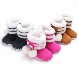 $enCountryForm.capitalKeyWord Australia - 2018 Newly Winter Warm Snow Boots Newborn Baby Girls Boys Shoes 3 Style Fur With Balls Flat With Heel Causal Shoes 0-18M