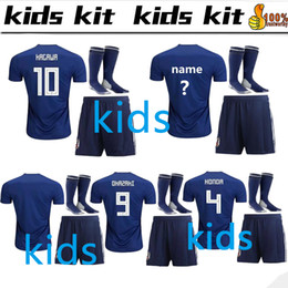 6f1e7aba45f Kids kit 2018 World Cup Japan home blue Soccer jersey OKAZAKI KAGAWA HASEBE  NAGATOMO jerseys 2018 2019 japan Football shirt