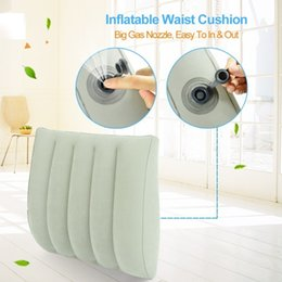 $enCountryForm.capitalKeyWord NZ - wholesale Newest Portable Inflatable Travel Lumbar Cushion Sleeping Waist Pillow With Storage Bag Business Airplane Train Driving