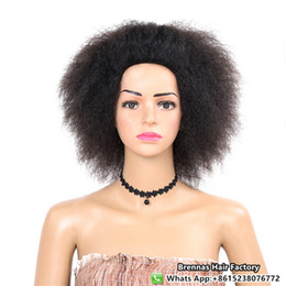 Discount brazilian crochet braiding hair - Hot &Fashion Short Length Afro Kinky Curly Synthetic Wig For Black Women 100% kanekelon Fiber Synthetic Wigs Brazilian c