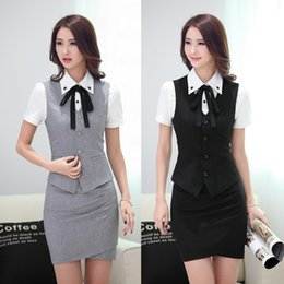 Office Skirt Suits Styles NZ - Summer Fashion Women Business Suits with Skirt and Vest Wastcoat Sets Slim Female Ladies Office Uniform Styles Work Wear Clothes