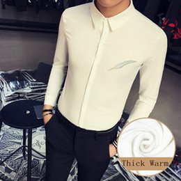 Tuxedo Prom Dresses NZ - High Quality Men Shirt Plus Size Winter Slim Fit Thick Warm Casual Shirts Dress Mens Long Sleeve Embroidery Prom Tuxedo 5XL-S