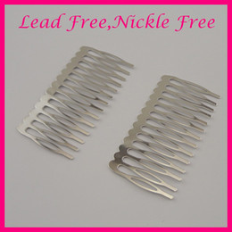 Led comb online shopping - 10PCS cm cm Silver Finish teeth Flat plain Metal Hair Comb for bridal tiara hair accessories at nickle free lead free