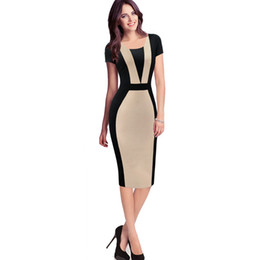 Wholesale womens career dresses sleeves for sale – plus size career dress Womens Elegant Optical Illusion Colorblock Contrast Modest Slim Wear to Work Business Casual Party Sheath Pencil Dress