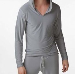 Mens sexy robes online shopping - 2017 new Wear Mens Sexy Pajamas Sleepwear Male Robe Masculino Shirt Casual Wear Hooded Silky Polyester