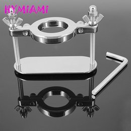 $enCountryForm.capitalKeyWord Australia - HYMIAMI Male Scrotum Ball Crusher Fixture Stainless Steel Stretcher Testis Scrotum Clamp Torture Ring Device Sex Toy Adult Game Y18110302