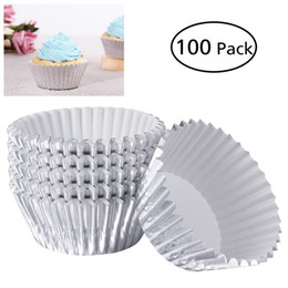 Cupcake Muffins Cake Australia - ROSENICE 100pcs Aluminum Thickened Foil Cups Cupcake Liners Mini Cake Muffin Molds Baking Molds (Silver)