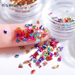 1 Kutu kırık cam taklidi Japon yeni parlak moda tırnak sanat takı cep telefonu kabuk aksesuarları dekorasyon