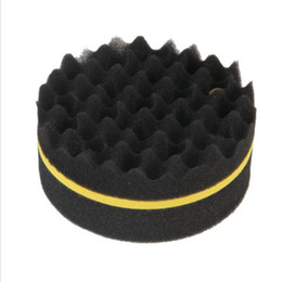 Vente en gros 20 Packs Black Wave Curling Éponge Double Face Curling Cheveux Artefacts Coiffure Nettoyage Éponge Brosse pour Enfants