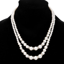 Top quality Chic Double layer fake pearl beads necklaces bride Bridesmaids  Beaded Chains Necklace For women Fashion wedding Jewelry Gift f2ff68a5ce57