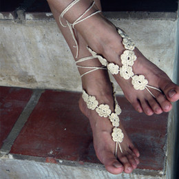 $enCountryForm.capitalKeyWord Australia - Crochet barefoot sandals Nude shoes Foot jewelry Beach wear Yoga shoes Bridal anklet bridal beach accessories lace sandals X008
