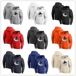 Discount camp wear - Men's Vancouver Canucks Fanatics Branded Black Ash White Red Orange embroidery Primary Logo Pullover Hoodies long S