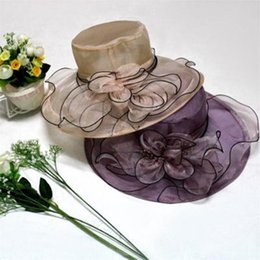 Discount silk flowers for hats silk flowers for hats 2018 on sale retro large flowers elegant lace cap fashion net shade sunshade fedora hat female swim beach hat for women dropshipping silk flowers for hats outlet mightylinksfo