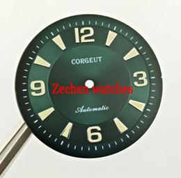 Watch movement parts online shopping - 33 mm Corgeut Green Watch Dial Fit ETA ETA2836 Miyota Series Movement