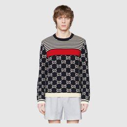 8f200e013c5d7 2018 марка мода роскошный дизайнер мужчины свитер Париж Осень Зима свитер  мужская шерсть полосатый свитер вышивка любил слоган