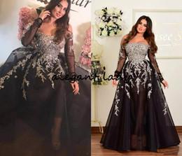 3bcf029ce6e60 Plus Size Off Shoulder Prom Party Dresses with Long Sleeve 2019 Black  Silver Shiny Lace Applique Dubai Arabic Occasion Evening Gown