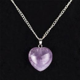 $enCountryForm.capitalKeyWord Australia - Natural Amethyst Quartz Opalite Heart Women Necklace Romantic Crystal Red Jasper Healing Stone Chakra Reiki Fashion Jewelry