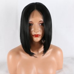 $enCountryForm.capitalKeyWord Australia - Lace Front Wigs Black color # 1 Mixed Color Glueless Synthetic Long Curly Natural Hair Wigs For Women Lace Front Wig Straight hair