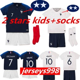 806559815 KIDS + socks French 2018 world cup champions 2 stars GRIEZMANN POGBA MBAPPE Soccer  jerseys KANTE DEMBELE Maillot de foot football shirts