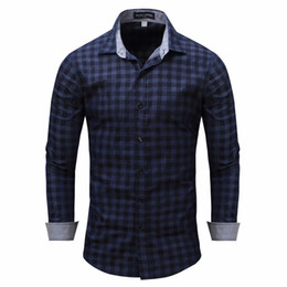 $enCountryForm.capitalKeyWord Canada - male shirt Men's shirt Long Sleeve Cotton Plaid Shirts Mens Dress Brand Casual Denim Style camisa masculina xxxl
