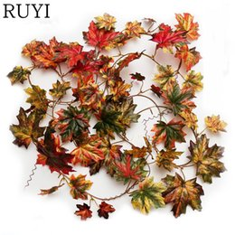 Decorative vine plant online shopping - Decorative Flowers Artificial Fall Maple Leaf Garland Silk Long Vine Wedding Garden Decor Decoration