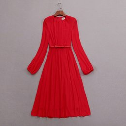 2018 Fall Winter Newest Fashion Lady Crew Neck Long Sleeve Elegance Red One  Piece Dress Runway Dresses S12W279 848b40cea453
