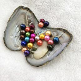 Colorido 6-8mm Mezcla de colores 25 Perlas redondas en agua dulce Materiales de concha de ostra para teñir joyas Bricolaje Para sorpresa Festival Regalo Gratis Shippin
