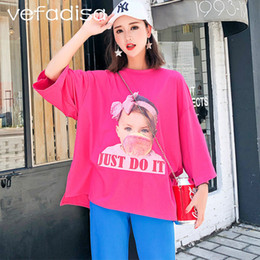 Discount half t shirts for women - Vefadisa Summer Tops and Tees 2018 Half Sleeve Asymmetric Shirt Character Pattern Print Shirt for Women Beading T AD1815